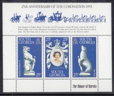 South Georgia MNH Scott #51a-#51c Strip Of 3 With Gutter 25th Anniversary Of Coronation Elizabeth II - Géorgie Du Sud