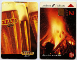 LATVIA Lettland  Lettonia - Gold Beer ,beer Glass Sun Festival , Camp Fire  Used Chip Phonecard    2001 Year - Latvia