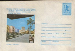 Romania- Postal Stationery Cover  1980- Olympic Games Moscow,Olympic Flame, At Focsani - Summer 1980: Moscow