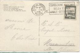CARTE POSTALE 1936 AVEC CACHET ESPOSIZIONE VATICANA DELLA STAMPA APRILE-OTTOBRE 1936 - Lettres & Documents