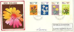 Fleurs Des Montagnes En Nouvelle-Zélande, Série émise En 1972. Yv.567/70 Sur Lettre. - FDC