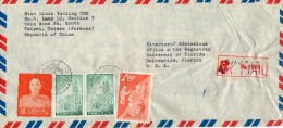 Taiwan 1960 Registered Cover Mailed To USA - 1945-... République De Chine