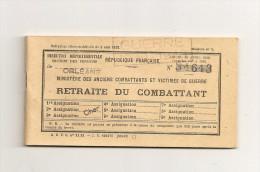 Carnet De Retraite Du Combattant Au Nom De M. CHOLLET Né En 1903 - Dokumente
