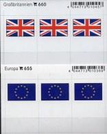 In Farbe 2x3 Flaggen-Sticker Europa+Großbritannien 4€ Kennzeichnung  Alben Karten Sammlung LINDNER 660+655 Flags UK CEPT - Photography
