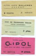 3 BILLETES DE AUTOBUS DE ANDORRA (Ref: 2+Tc) - Europa