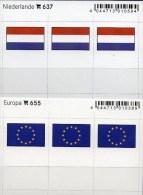 In Farbe 2x3 Flaggen-Sticker Niederlande+Europa 4€ Kennzeichnung An Alben Karten Sammlung LINDNER 655+637 Nederland CEPT - Unclassified