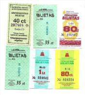 Lithuania Lietuva LitauenTransport Ticket Bus ,trolley Vilnius City Transport  6 Different ( Lot -333) - Tram