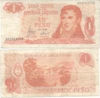 MANUEL BELGRANO BILLETE 1 PESO - REPUBLICA ARGENTINA - SOLD AS IS - Argentinië