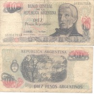 JOSE DE SAN MARTIN EN LA ANCIANIDAD - REPUBLICA ARGENTINA BILLETE 10 PESOS ARGENTINOS - Argentinië