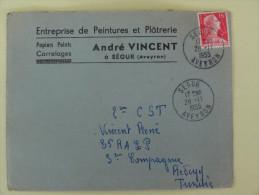 15f Sabine  Sur Lettre Pour  Segur   Aveyron 1955 - Marcophilie (Lettres)