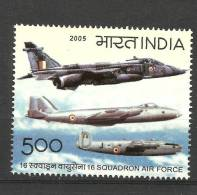 INDIA, 2005, 50 Years Of 16 Squadron Air Force, Fighter Planes, Airplane, Militaria MNH, (**) - Nuovi