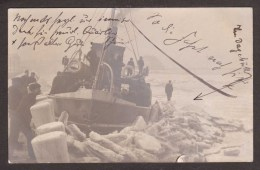 GE381) Wyk-Föhr - Ship Stuck In Ice Pack - 1912 RPPC - Föhr