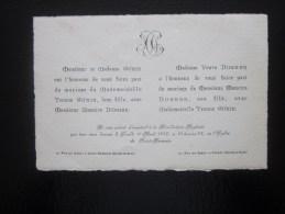 Faire Part De Mariage Bénédiction Nuptiale Donnée Le Lundi 1er Avril 1912 église Saint-Germain Poissy Seine-et-Oise - Boda