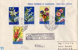 BUSTA POSTALE -PRIMO GIORNO DI EMISSIONE-8-1957-LIRE 4+5+25+60+80-REPUBBLICA SAN MARINO - San Marino