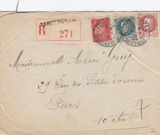 L.A.C.  Lettre Recommandée Tricolore Du 22/06/1942- 2 Cachets Daguin Seul (borgne) - Marcophilie (Lettres)