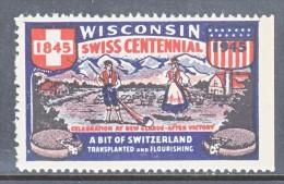 WISCONSIN  SWISS  CENTENNIAL  1945    ** - United States
