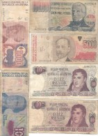 REPUBLICA ARGENTINA LOTE DE 6 BILLETES  DIFERENTES EN REGULAR ESTADO SOLD AS IS - Argentina