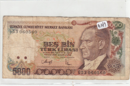 Billets - B1179 - Turquie  - 5000 Turk Lirasi  ( Type, Nature, Valeur, état... Voir  Double Scan) - Turquie