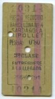 TICKET EDMONDSON DE FERROCARRIL // BARCELONA - SARDAÑOLA, RIPOLLET // 1931 // (N+TC) - Trenes