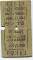 TICKET EDMONDSON DE FERROCARRIL // SABADELL - BARCELONA  // 1931 // (N+TC) - Trenes
