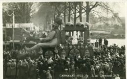 CHALON SUR SAONE - Carte Photo Du Carnaval De 1933 Sa Majesté Carnaval XX Banderole Sauvagines Péniches - Chalon Sur Saone