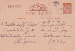 """1941 Obl Méca  """" P.P. TOULOUSE """" Sur Entier CP IRIS Interzones > Chatillon Cote D'Or / Haute Garonne - Imprimé - Guerre - Marcophilie (Lettres)"""