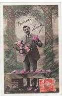 Carte Postale Ancienne Fantaisie - Homme - Fleurs - Hombres