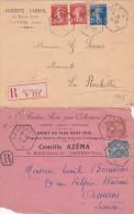 """2 Lettres Recommandées Avec Obl Recette Auxiliaire  """" CASTRES A A """" - TARN - Semeuse Tarif - Marcophilie (Lettres)"""