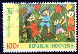 INDONESIA 1992 National Children´s Day. Children´s Paintings - 100r. - Children With Balloons (Cynthia Widiyana Hali FU - Indonesia