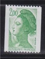 = Type Liberté De Gandon, D'après Delacroix  2.00f  Vert  De Roulette Neuf Gommé N°2487 - Rollen