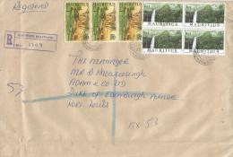 Mauritius Maurice 1999 Quartier Militaire Waterfall Cascade Re1 Sugar Cane Domestic Registered Cover - Mauritius (1968-...)