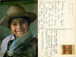 Ambato Indian Girl, Ecuador Postcard Posted 1972 Stamp - Ecuador