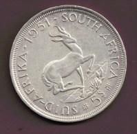 AFRIQUE DU SUD SOUTH AFRICA 5 SHILLINGS 1951 ARGENT SILVER - Sudáfrica