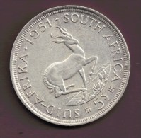 AFRIQUE DU SUD SOUTH AFRICA 5 SHILLINGS 1951 ARGENT SILVER - South Africa
