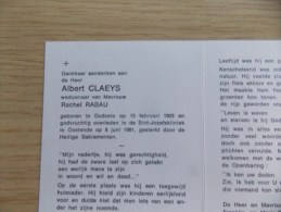 Doodsprentje Albert Claeys Dudzele 13/2/1903 Oostende 6/6/1981 ( Rachel Rabau ) - Religion & Esotérisme