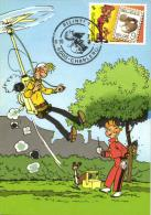Belgium 1988 OBP 2302 Mi. 2354 MC CM Maximum Card, Jeugdfilatelie Philatélie Jeunesse, Comics Robbedoes Spirou, Franquin - 1981-1990