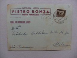 Cartolina Cartoleria - Libreria PIETRO RONZA. Trino Varcellese (Vercelli) 1940 - Pubblicitari