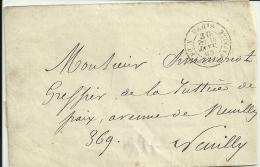 Cachet à Date Taxe  30  Paris  R. De La Ste Chapelle Pour Neuily.  Janvier 1869.  Sans Texte - Postage Due Covers