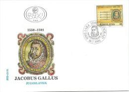 Yugoslavia 1991. FDC Jacobus Gallus Composer - Music