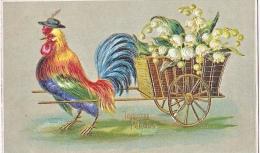 23799 -Joyeuses Paques -  Coq Poule Charette Muguet -relief Doré Or-  Editeurs ?  Série 519 - - Pâques