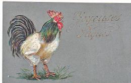 23800 -Joyeuses Paques -  Coq Poule Francais -relief Doré Or-  Editeurs ?