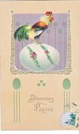 23802 -Joyeuses Paques -  Coq Poule Francais Oeuf -relief -  PFB Série 7458 - Pâques