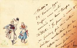 Cpa,italie,costumes De Fètes,1901,avec Timbre Rare Italien,carte Relief,rare - Firenze (Florence)