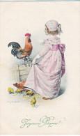 23805 -Joyeuses Paques -  Coq Poule Francais Poussin Oeuf - Dessin Schubert Illustrateur -fillette -M.M. N°507