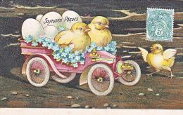 23807 -Joyeuses Paques -  Coq Poule Poussin Oeuf Voiture Ancienne Myosotis Relief - Dessin - Sans Editeur - Pâques