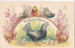 23808 -Joyeuses Paques Heureuses -  Coq Poule Poussin Oeuf Relief - Dessin - JC Paris - Pâques