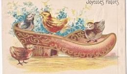 23809 -Joyeuses Paques  -  Coq Poule Poussin Oeuf Relief Chaussure - Dessin - JC Paris