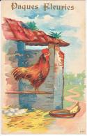 23810 -Joyeuses Paques Fleuries  -  Coq Poule Poussin Oeuf - Dessin - 198 -sans Ed - Pâques