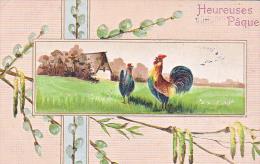 23811 Joyeuses Paques  -  Coq Poule Poussin Oeuf Saule En Fleur- Dessin Relief- Ed AOL ?