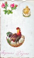 23813 Joyeuses Paques  -  Coq Poule Poussin Oeuf  Roses Collage - Sans Editeur - Pâques